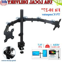 Dual Monitor Stand Mount Double Arm Computer For 13 To 27 In