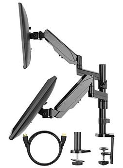Dual Arm Monitor Stand, Full Motion Adjustable Gas Spring Mo