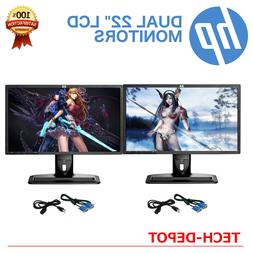 """DUAL Matching 22"""" Widescreen LCD Monitors w/ cables Gaming /"""