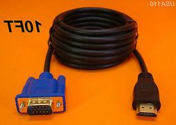 NEW 10 FT 3M LONG HDMI TO VGA MONITOR CABLE COMPUTER TO TV C