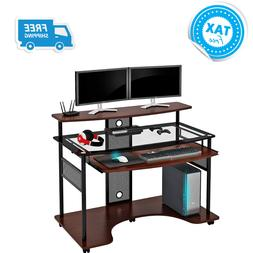 Pc Gaming Desk Computer Table Video Monitor Stand Shelf For