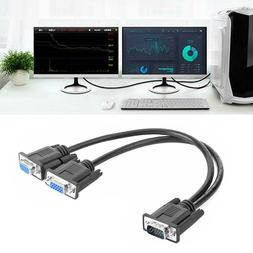 VGA Y Splitter Cable 1 Computer to Dual Monitor Male to Fema